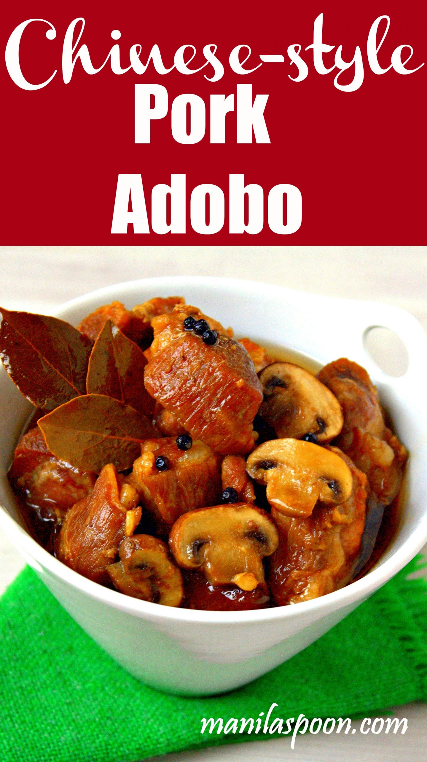 Of all the versions of Adobo I have tried this Chinese-style version (no vinegar) is my favorite!! Sweet, savory and delicious!! Serve with rice! #pork #adobo #chinese #filipinofood