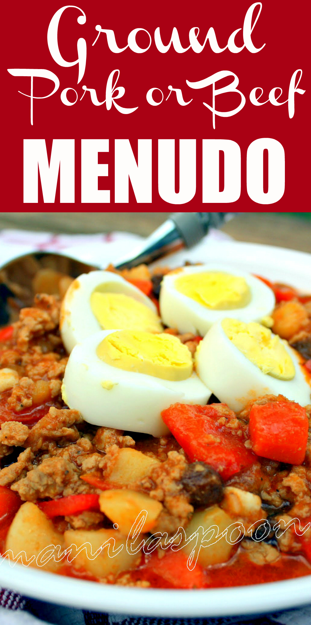 The classic Filipino stew, Menudo, made with ground meat for a quicker cooking time and more flavor absorption! Loaded with vegetables and simmered in a perfectly seasoned tomato sauce the whole family will enjoy this!