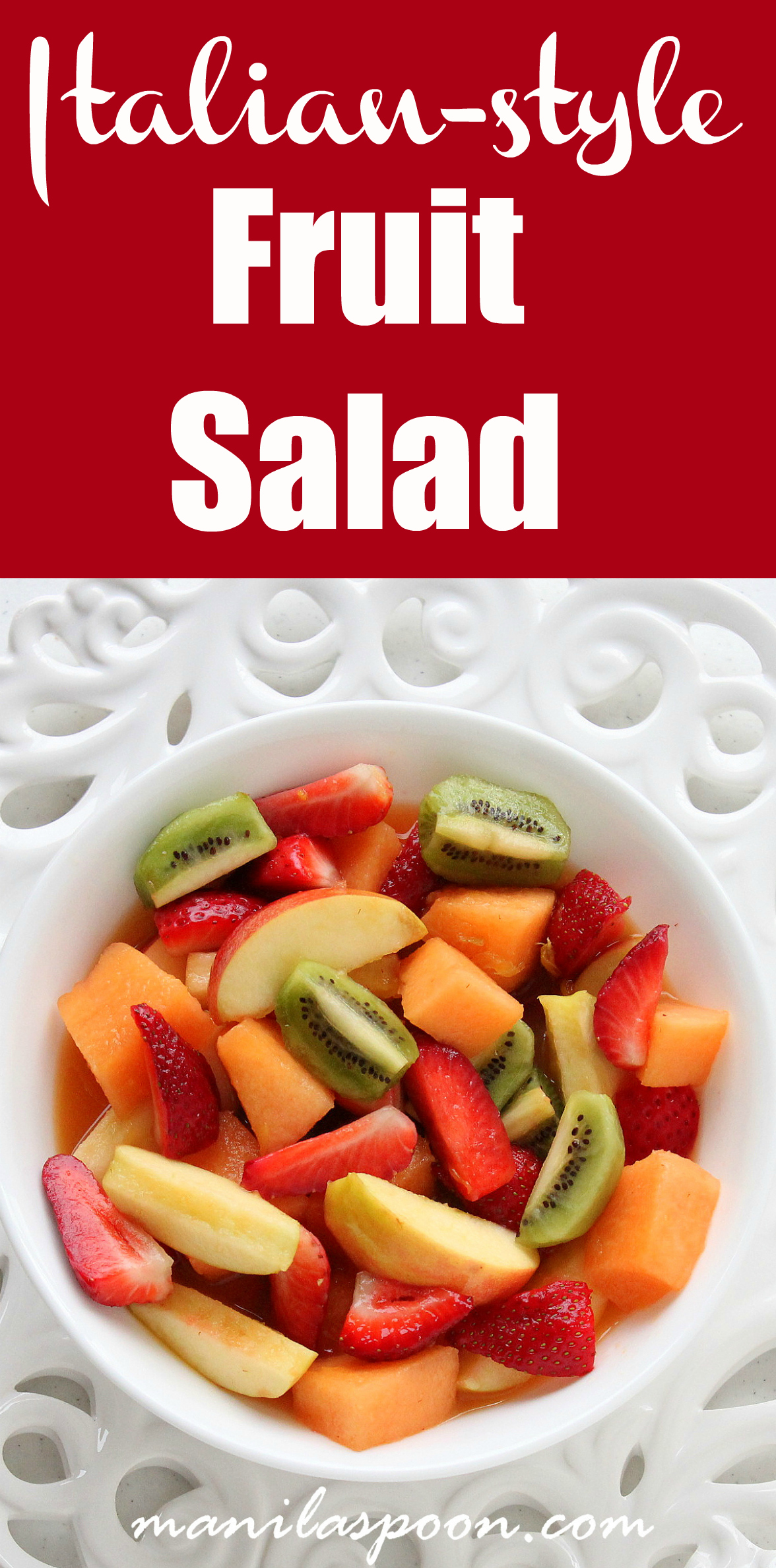 This light and healthy Italian fruit salad is the delicious way to take in all that nutrients from your favorite fruits and berries. So refreshingly good, it's the perfect summer treat! #italian #fruit #salad