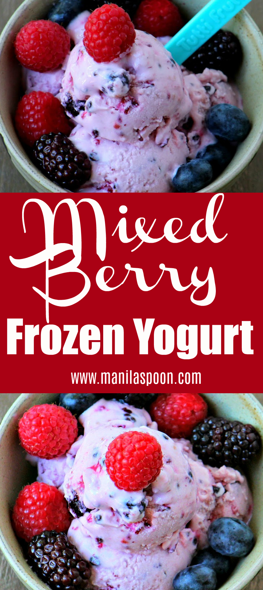 Loaded with fruits and made with greek yogurt and has less sugar, too this is summer's guilt-free treat! Easy to make, this delicious and healthy frozen Mixed Berry Frozen Yogurt is perfect for the entire family!