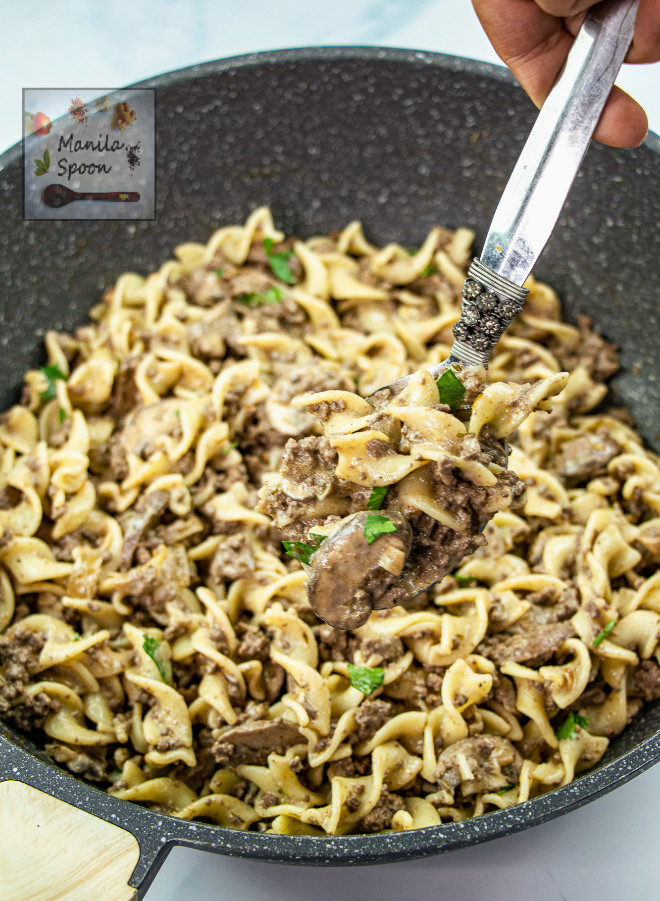 Ground Beef Stroganoff with Thyme and Red Wine