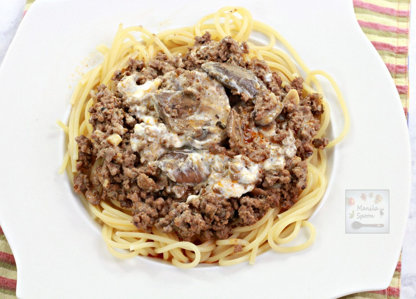 Slowly simmered in red wine this ground beef stroganoff is over the top yummy! A huge family favorite!