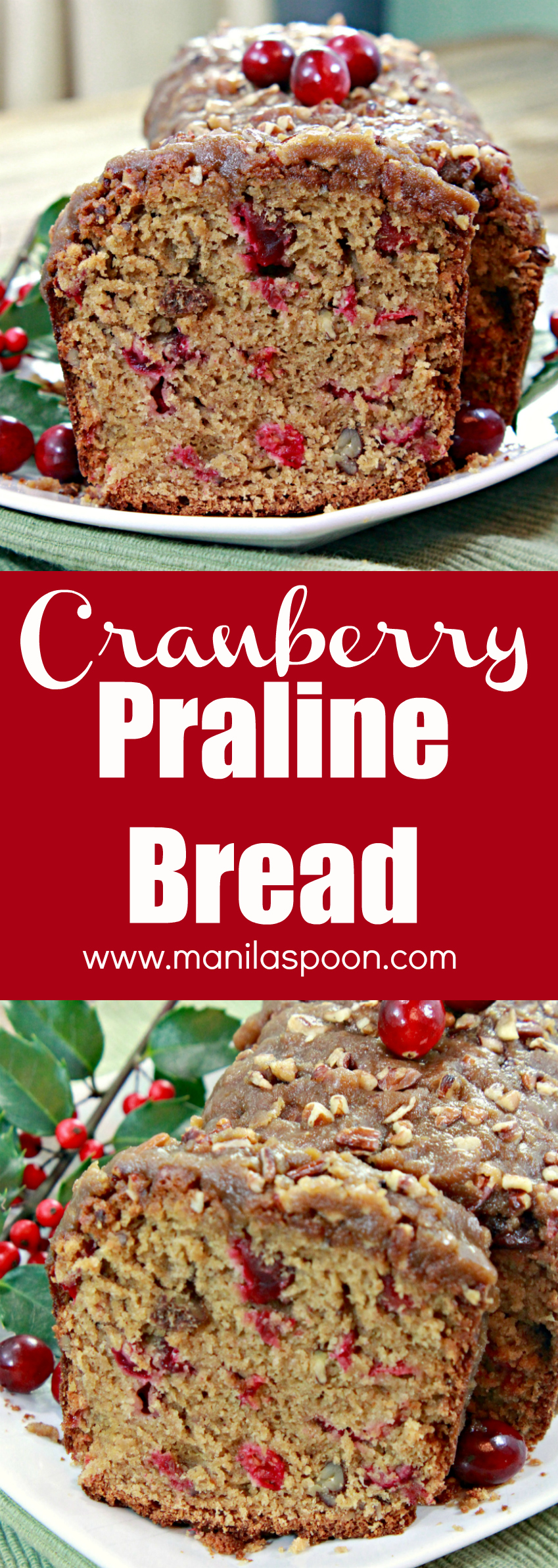 Moist, sweet-tangy, buttery, nutty and with a praline topping that bring this Cranberry Bread over the top – guaranteed deliciousness in every bite! I have served this many times and it's always so loved!!