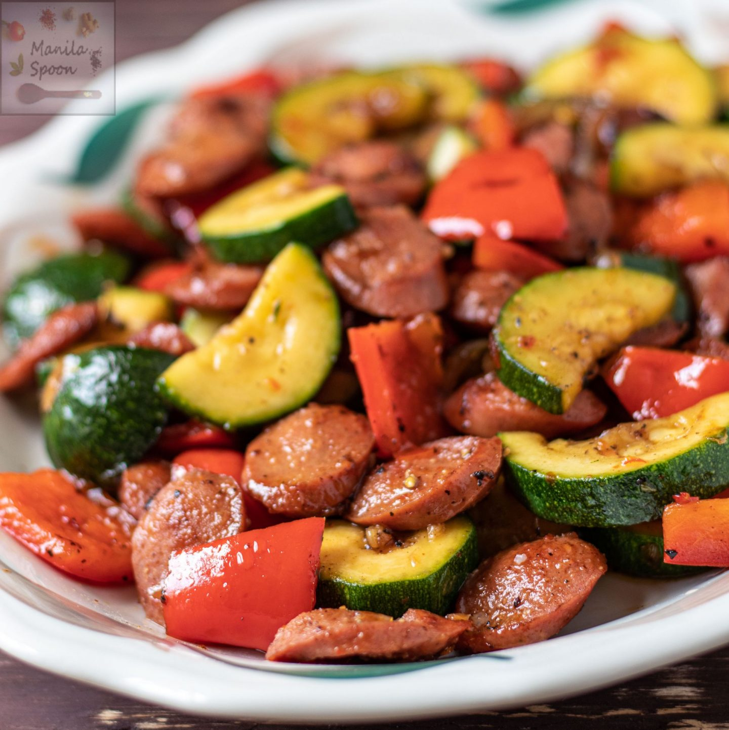 Grilled Sausages with Peppers in Sweet Chili Sauce