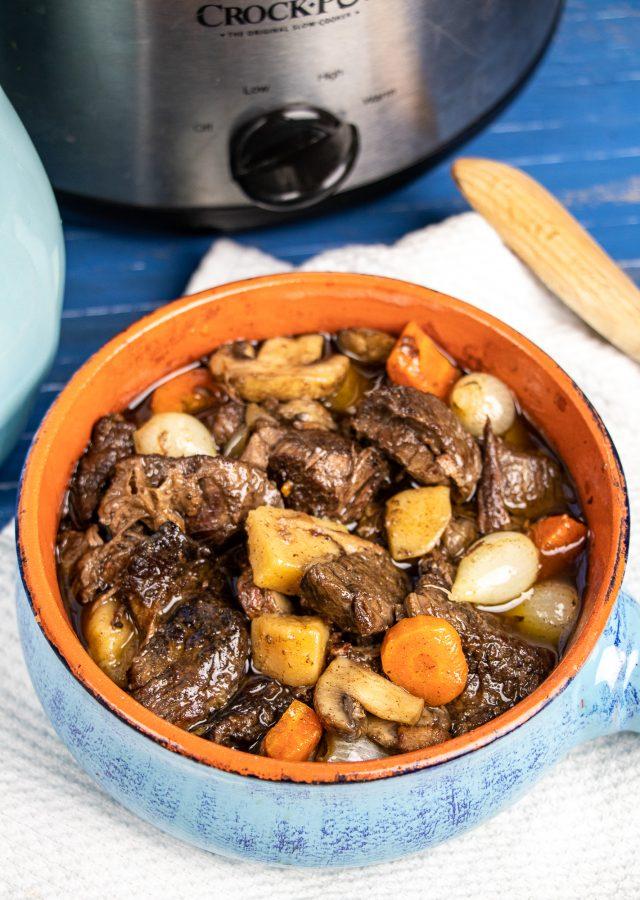 Slow Cooker Beef Burgundy (Boeuf Bourguignon)