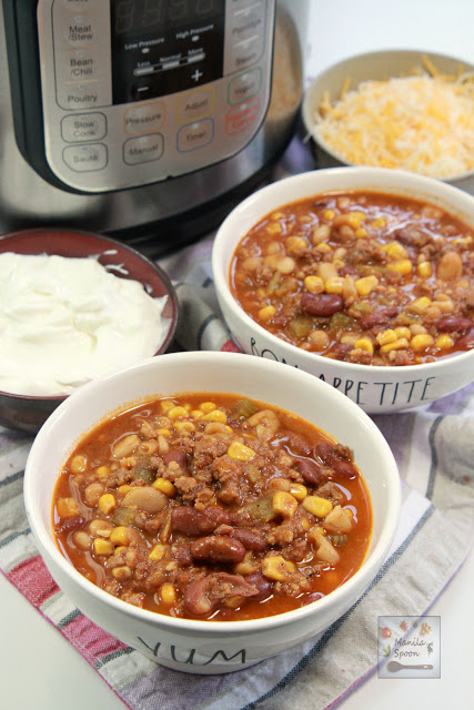 Love Chili and Chorizo? Enjoy them both in a hearty and delicious stew that's perfect for chilly nights! Made so quick and easy in the instant pot!  #instantpotchili #chili #chorizo #chorizochili