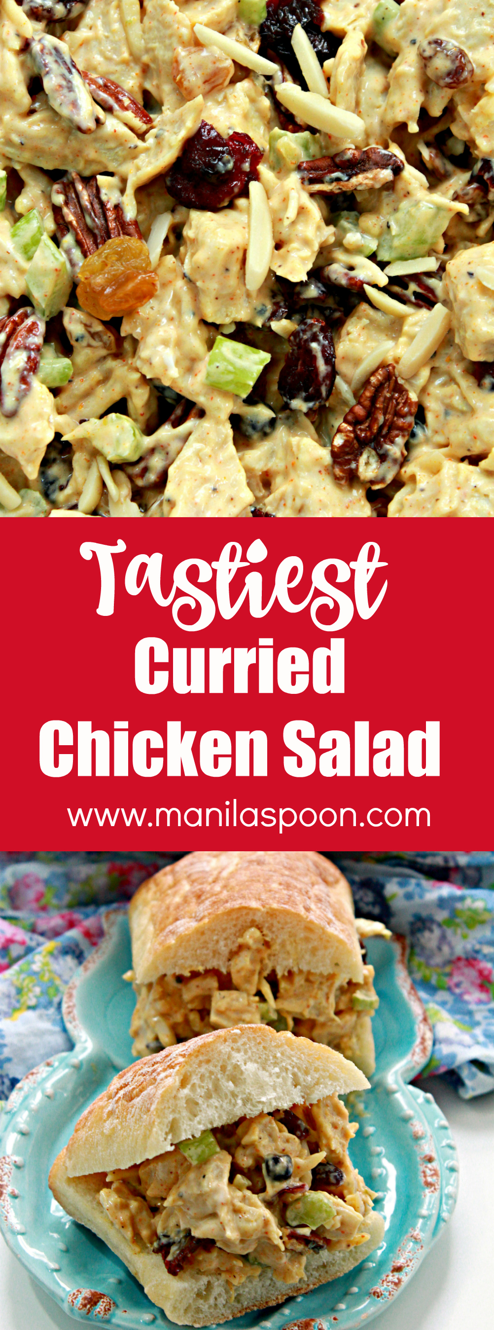 This chicken salad comes together so quickly. Seasoned with curry powder and chutney and mixed in with fruits and nuts,  too it is so deliciously good!