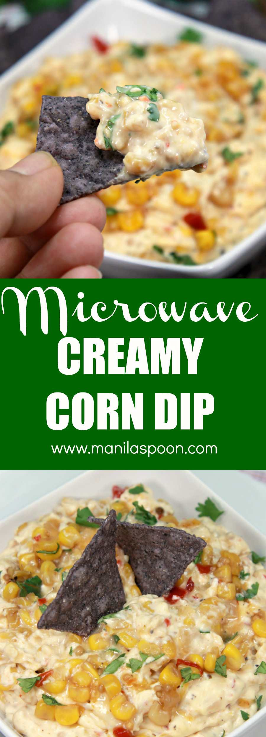 Just 5 minutes and only 3 ingredients to make this easy and deliciously creamy microwave corn dip!! Perfect for all your holiday parties!