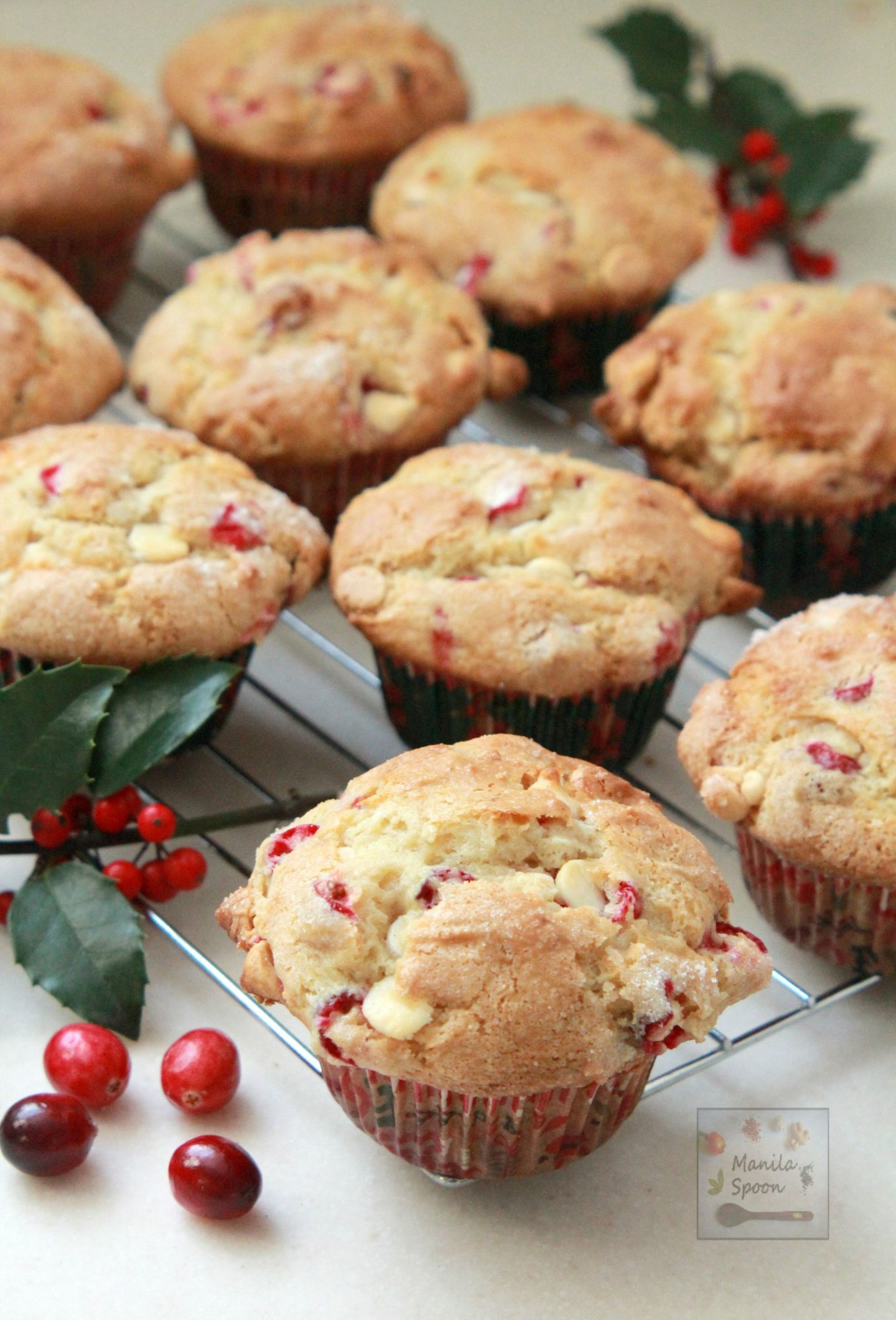 Loaded with white chocolate, dotted with cranberries and deliciously moist and sweet-tangy, these pretty muffins are the perfect holiday treat!