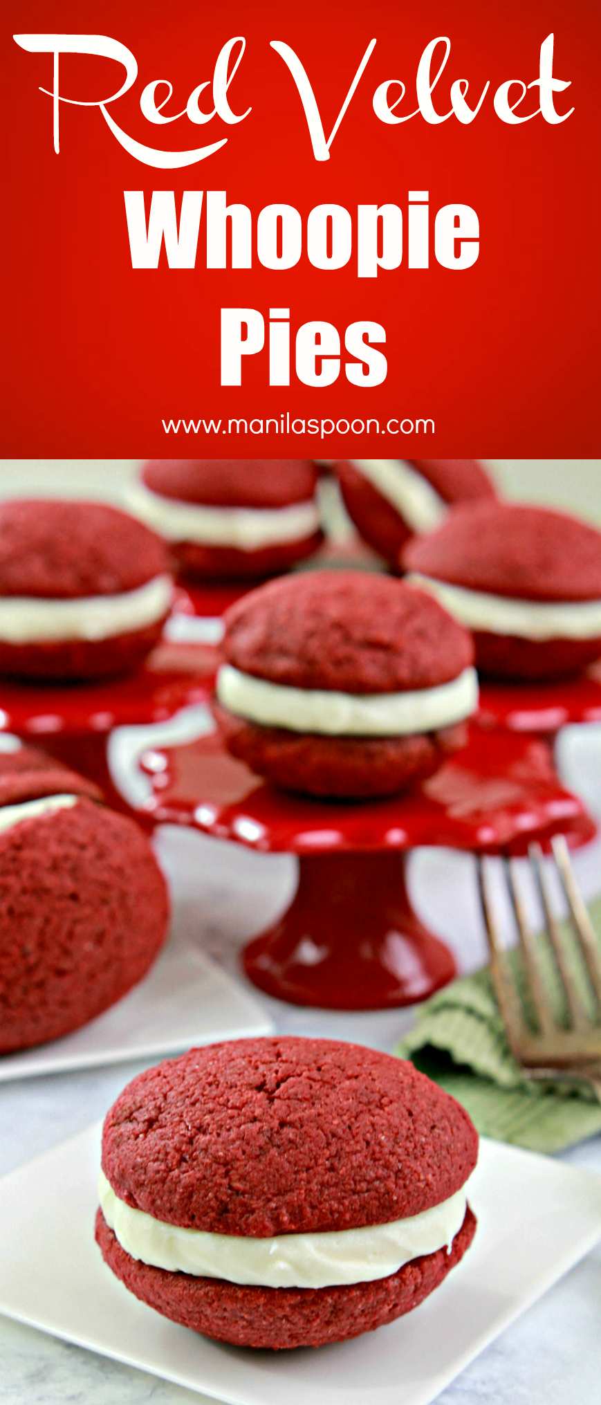 Perfectly delicious sweet treat for Valentine's Day - Red Velvet Whoopie Pies!! Easy to make and looks impressive, too!