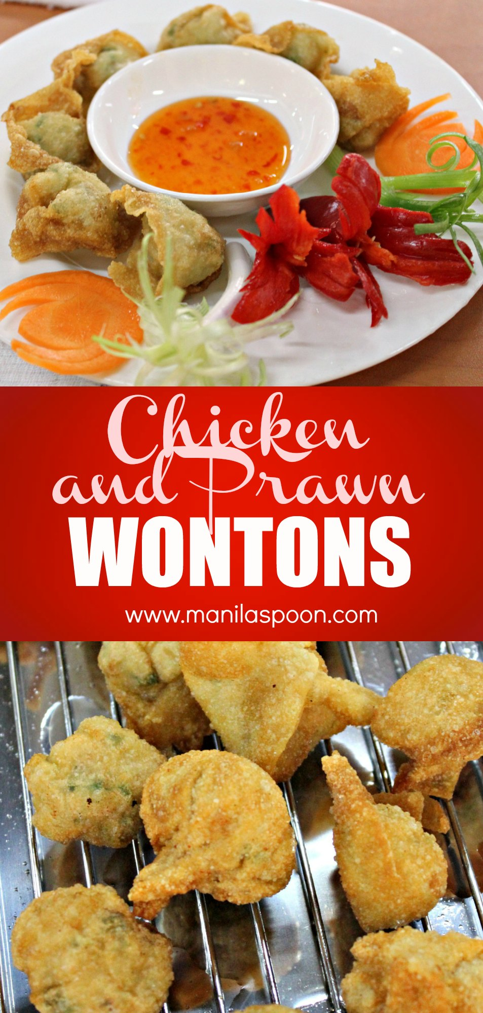 These chicken and prawn wontons are addictively delicious, you can't just have one!  Pretty easy to make, you're sure to make these many time over.