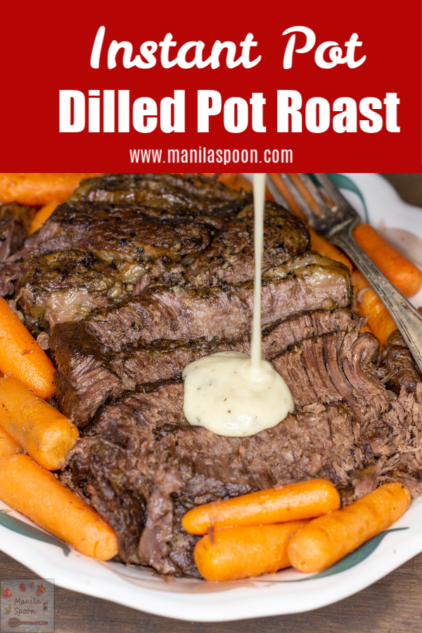 Melt-in-your-mouth delicious Instant Pot Dilled Pot Roast! I don't make any other pot roast as this is for us the best pot roast ever! The dilled sour cream gravy brings this over the top and only a few ingredients are needed to make this. A sure winner! #potroast #roastbeef #dilledpotroast #instantpot #dinner