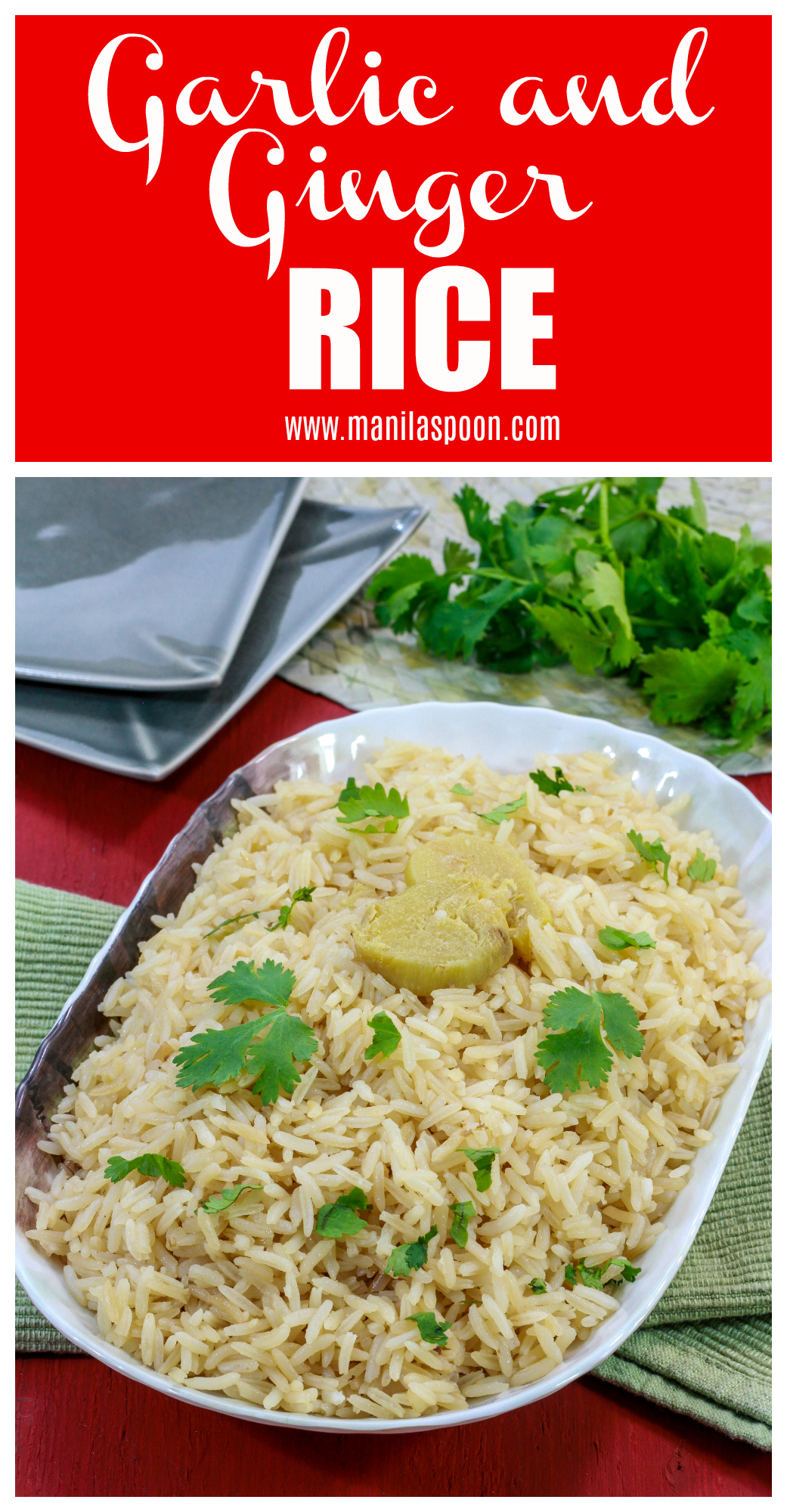 Flavored with garlic and ginger and cooked in chicken broth this easy rice dish is not only tasty it would complement any main dish that calls for rice. Can be made in the stove top or rice cooker for ease and convenience. #rice #garlicrice #gingerrice #comgungtuong