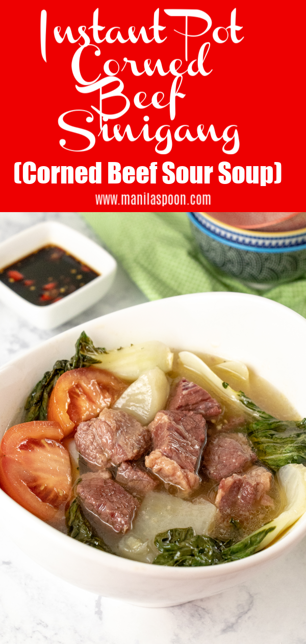 This has now become a classic favorite in my household! Use your corned beef and turn it into this delicious and hearty soup loaded with vegetables with a tangy mouth-puckering flavor that would leave your tastebuds asking for more! Made even easier in the Instant Pot - this Sinigang na Corned Beef (Corned Beef Sour Soup) would become your favorite, too!