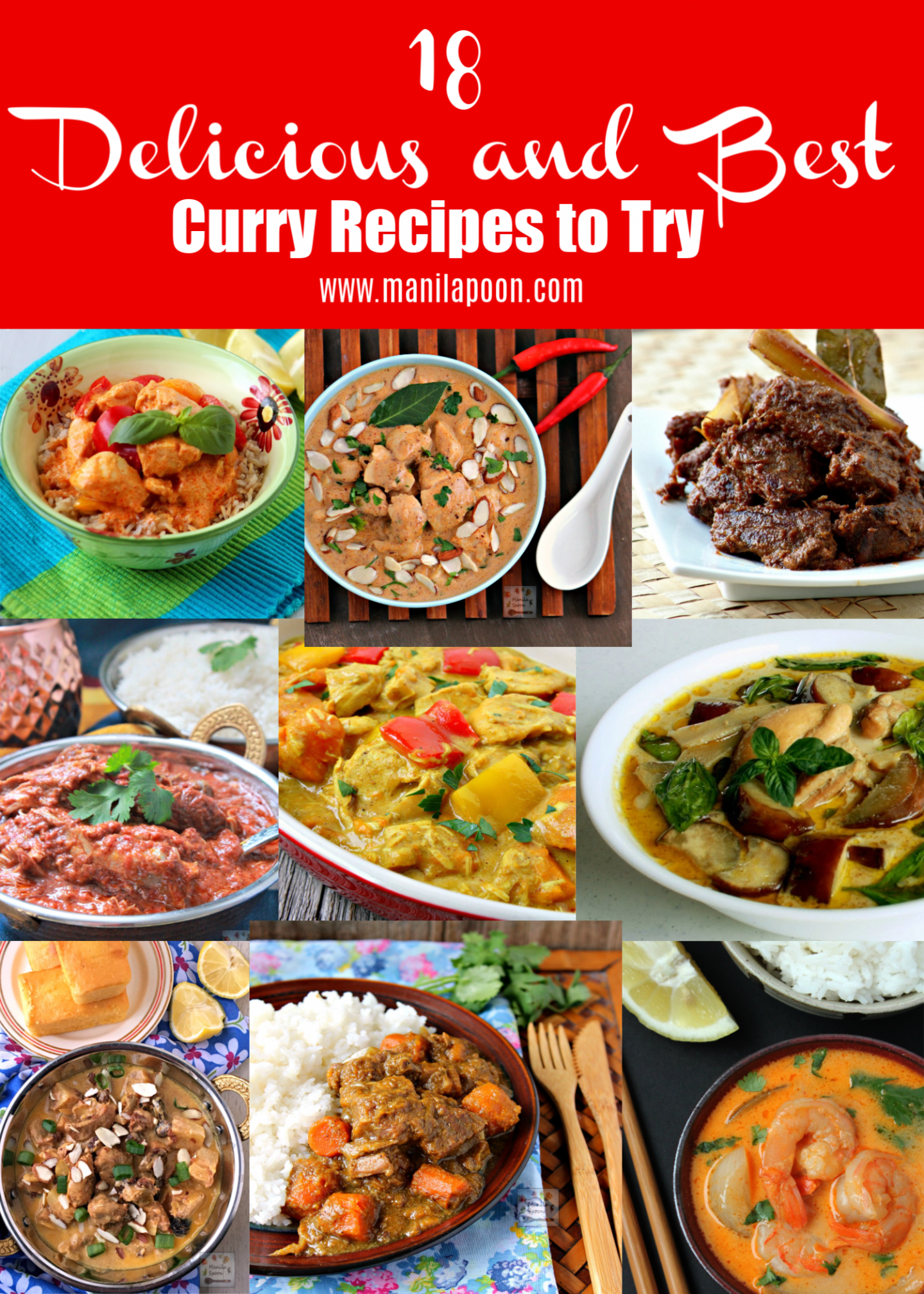 No need to make the same old, same old curry dishes all the time. Try these 18 Delicious and Best Curry Recipes so you'll never run out of ideas for your next dinner! #curry #curryrecipes #chickencurry