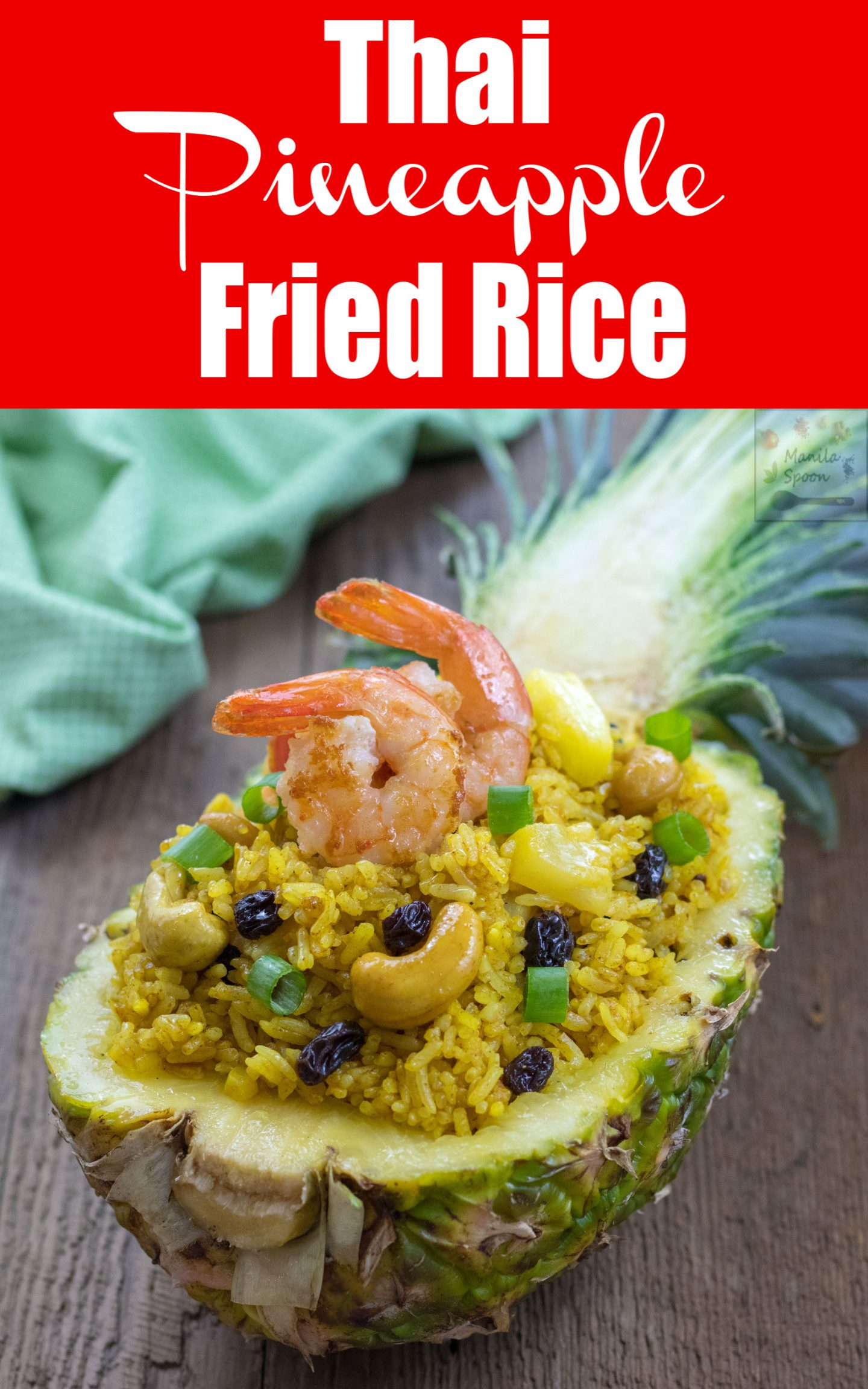 This fancy fried rice - Khao Pad Sapparot (Thai Pineapple Fried Rice) combines the flavors of pineapples, raisins and cashew nuts with a hint of curry that work together to produce an exquisite array of tastes in your mouth. If you wish to impress your family and friends, this is the rice to make! This dish can be made vegetarian but it's common to add shrimp or chicken to the dish. Often served in a hollowed-out pineapple, it is sure to please the crowd every time! #pineapplefriedrice #thaipineapplefriedrice #thaifriedrice #friedrice