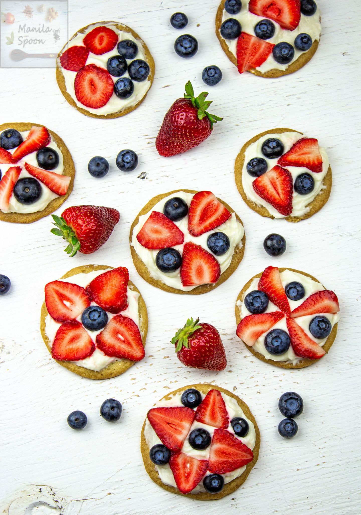 Patriotic Mini Fruit Pizzas